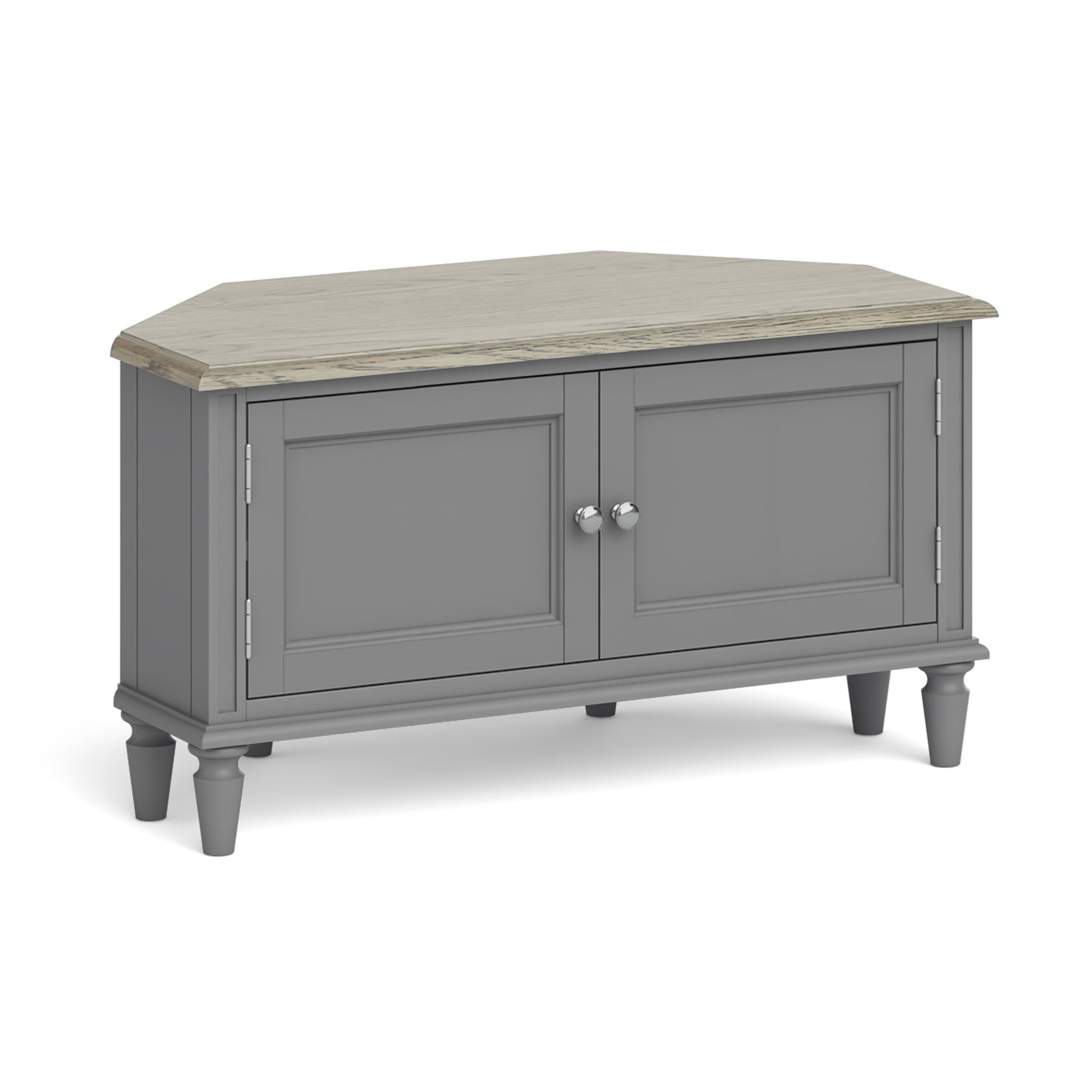 Mulsanne Grey 95cm Corner TV Cupboard Unit by Roseland Furniture