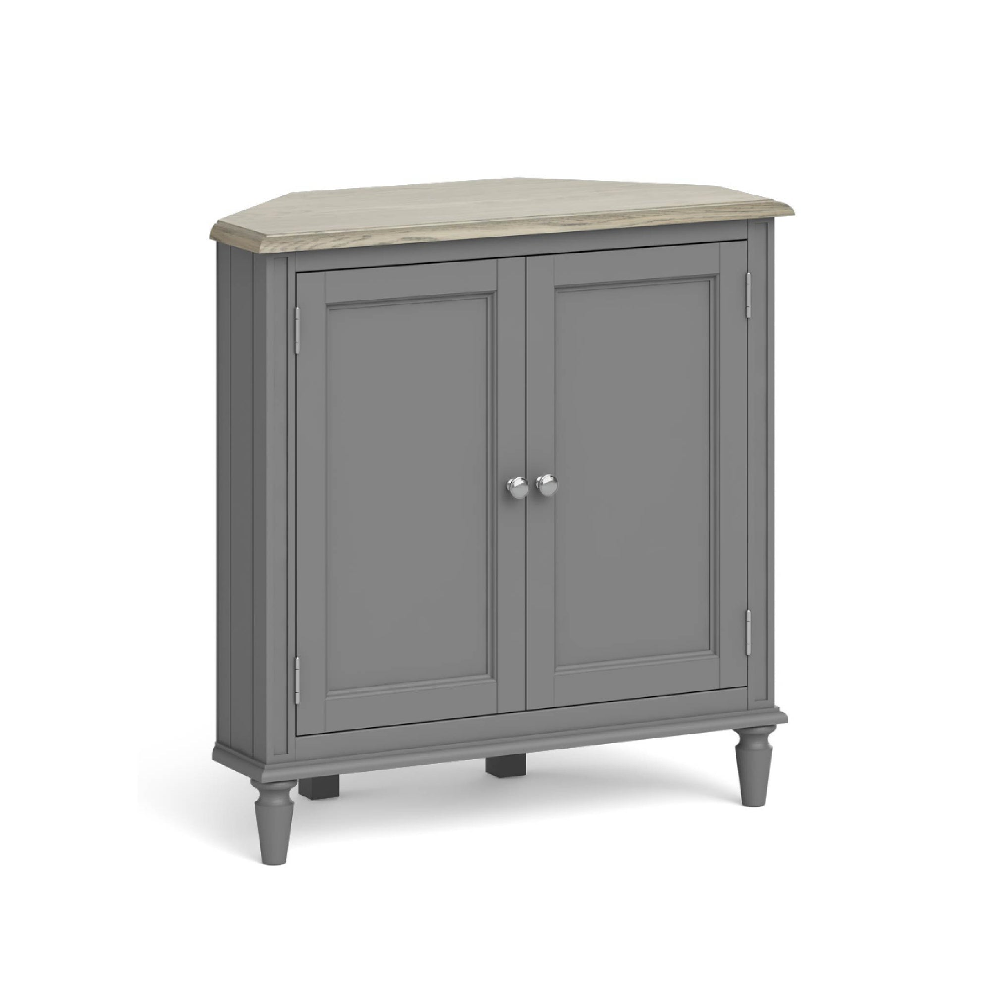 The Mulsanne Grey French Style Wooden Corner Cupboard from Roseland Furniture