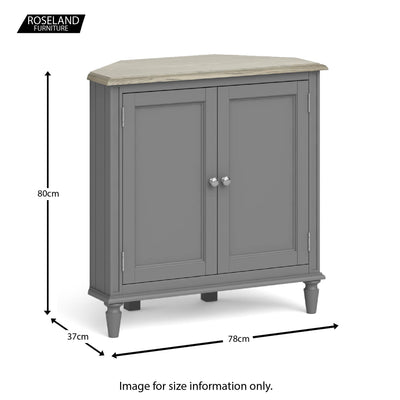 Dimensions for The Mulsanne Grey French Style Corner Cabinet with Oak Top