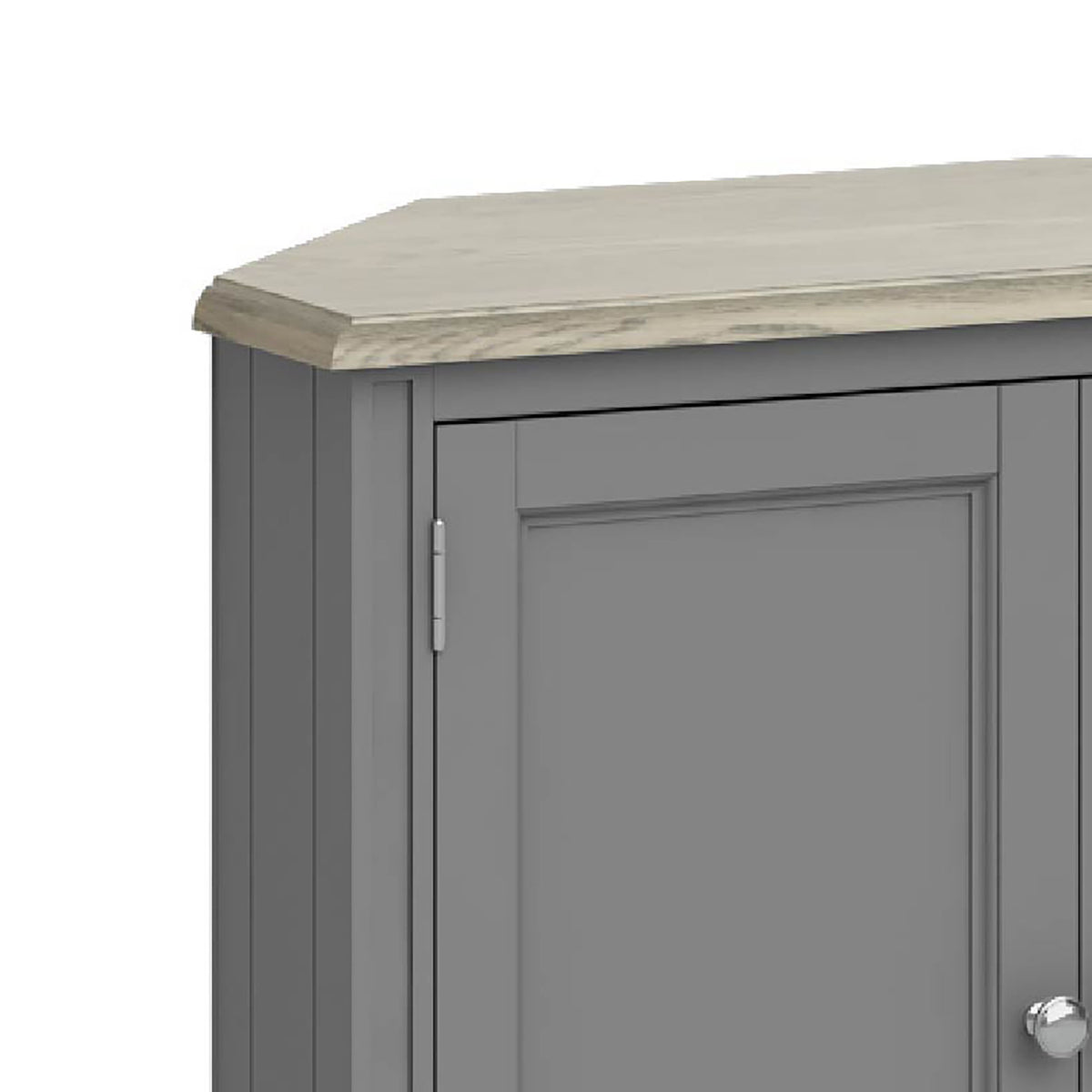 The Mulsanne Grey Wooden Corner Cupboard - Close Up of  Oak Top