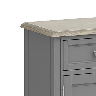 The Mulsanne Grey Mini Sideboard - Close Up of Top of Sideboard