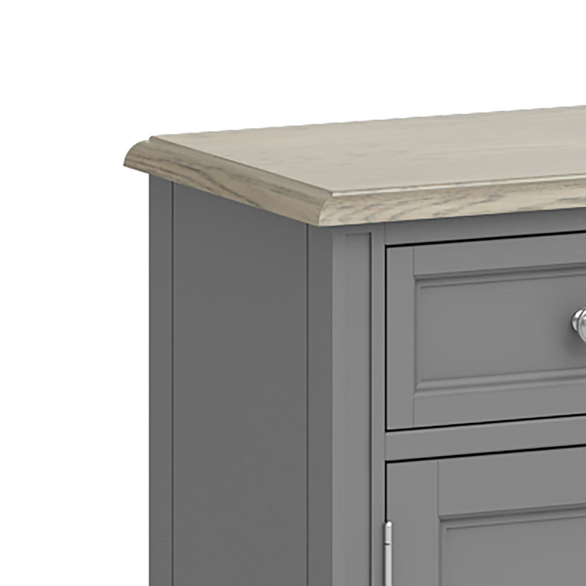 Mulsanne Grey Small Sideboard - Close Up of Top Corner