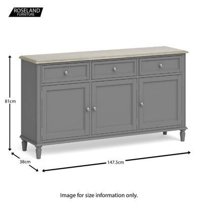 Dimensions - Mulsanne Grey Large Sideboard