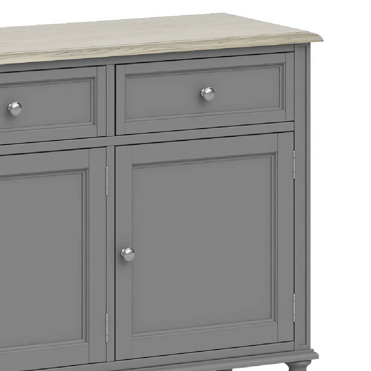Mulsanne Grey Large Sideboard - Close Up of Right Hand Drawer and Cupboard