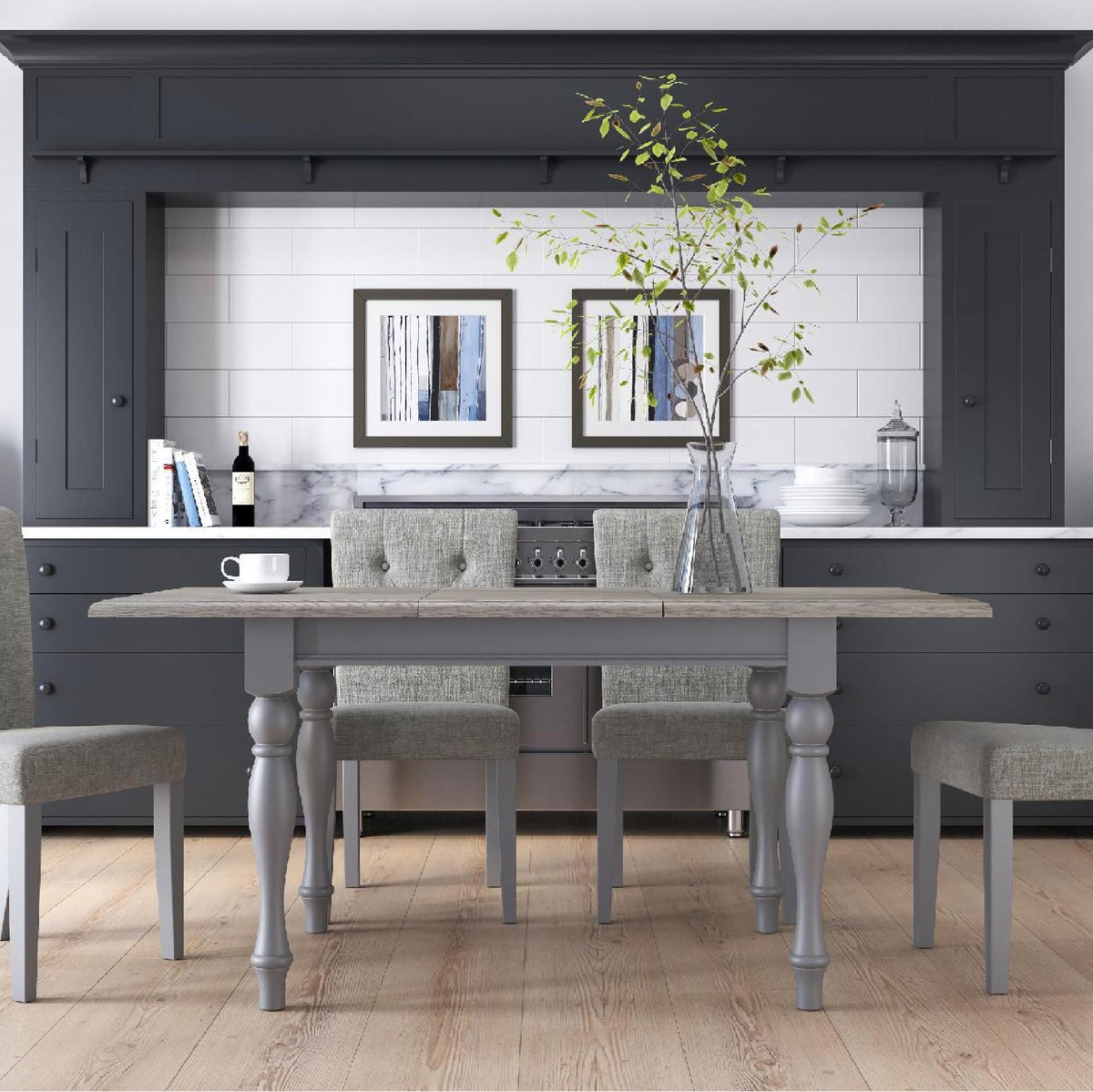 Mulsanne Grey Compact Extending Dining Table - Lifestyle