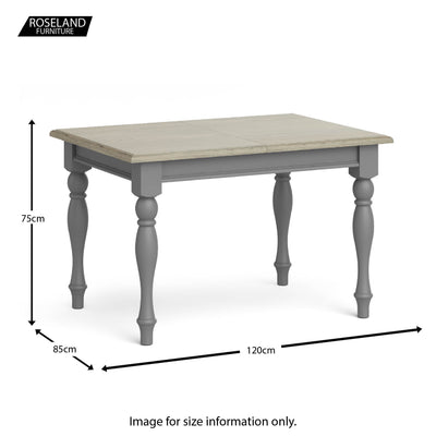 Mulsanne Grey Compact Extending Dining Table - Size Guide of Table Closed
