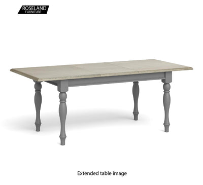 Extendable view of The Mulsanne Grey Small Extending Dining Table with Oak Top