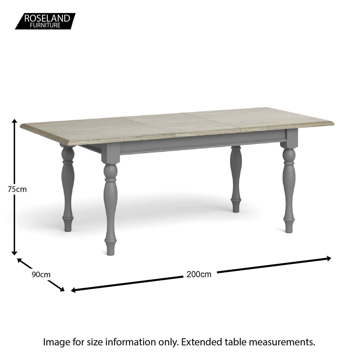 Dimensions for the Extended Mulsanne Grey Dining Table