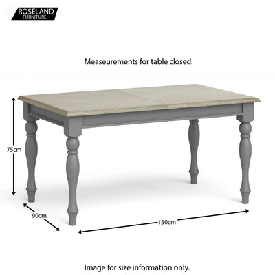 Mulsanne Grey Small Extending Dining Table - Closed size guide