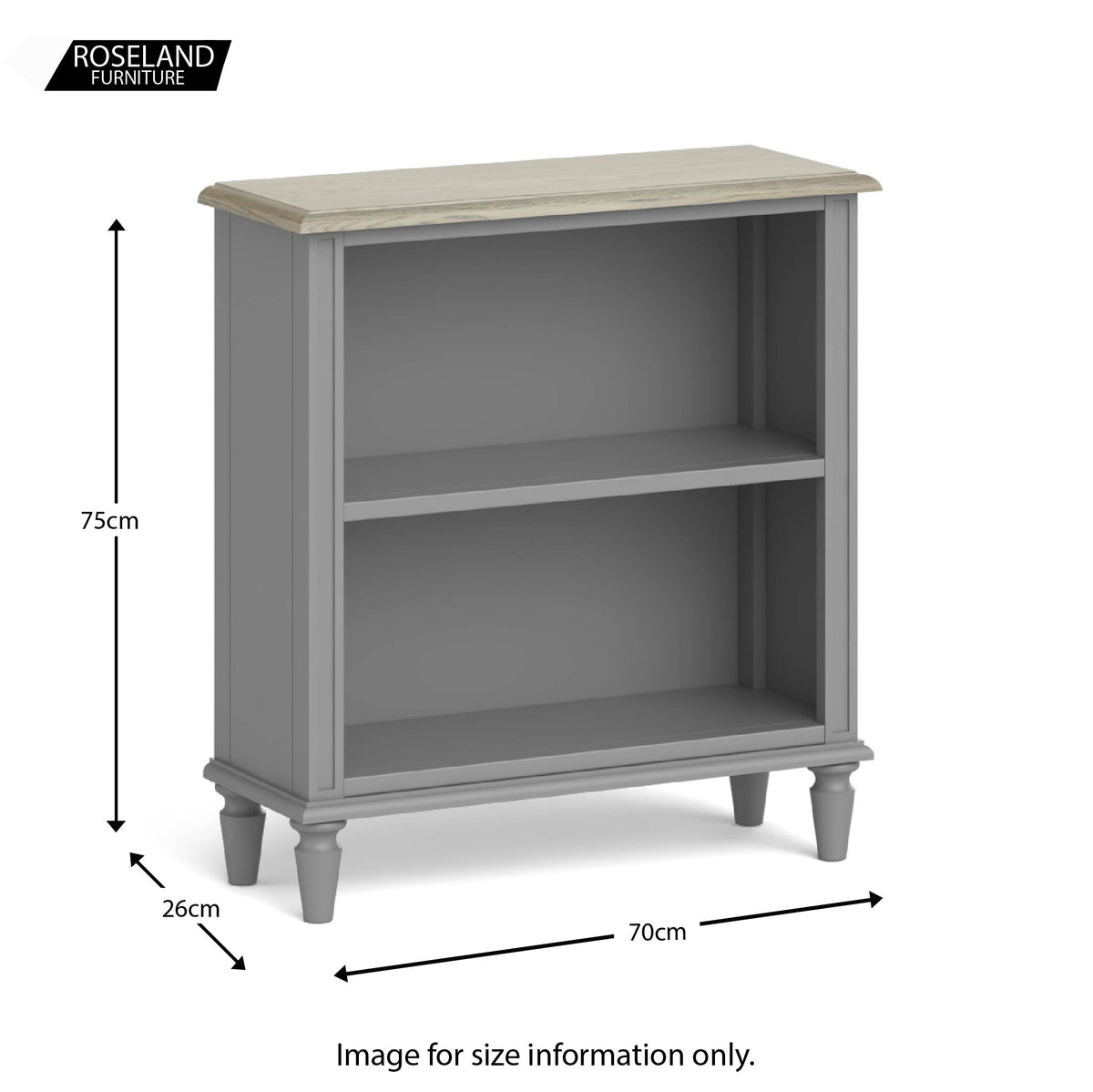 The Mulsanne Grey French Style Slim Bookcase size guide