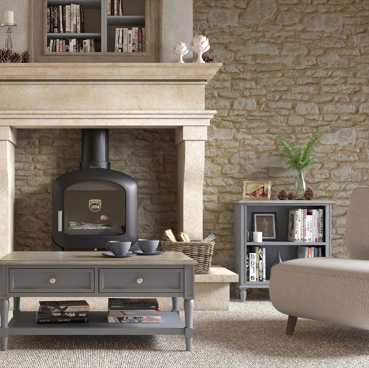 The Mulsanne Grey French Style Small Bookcase lifestyle