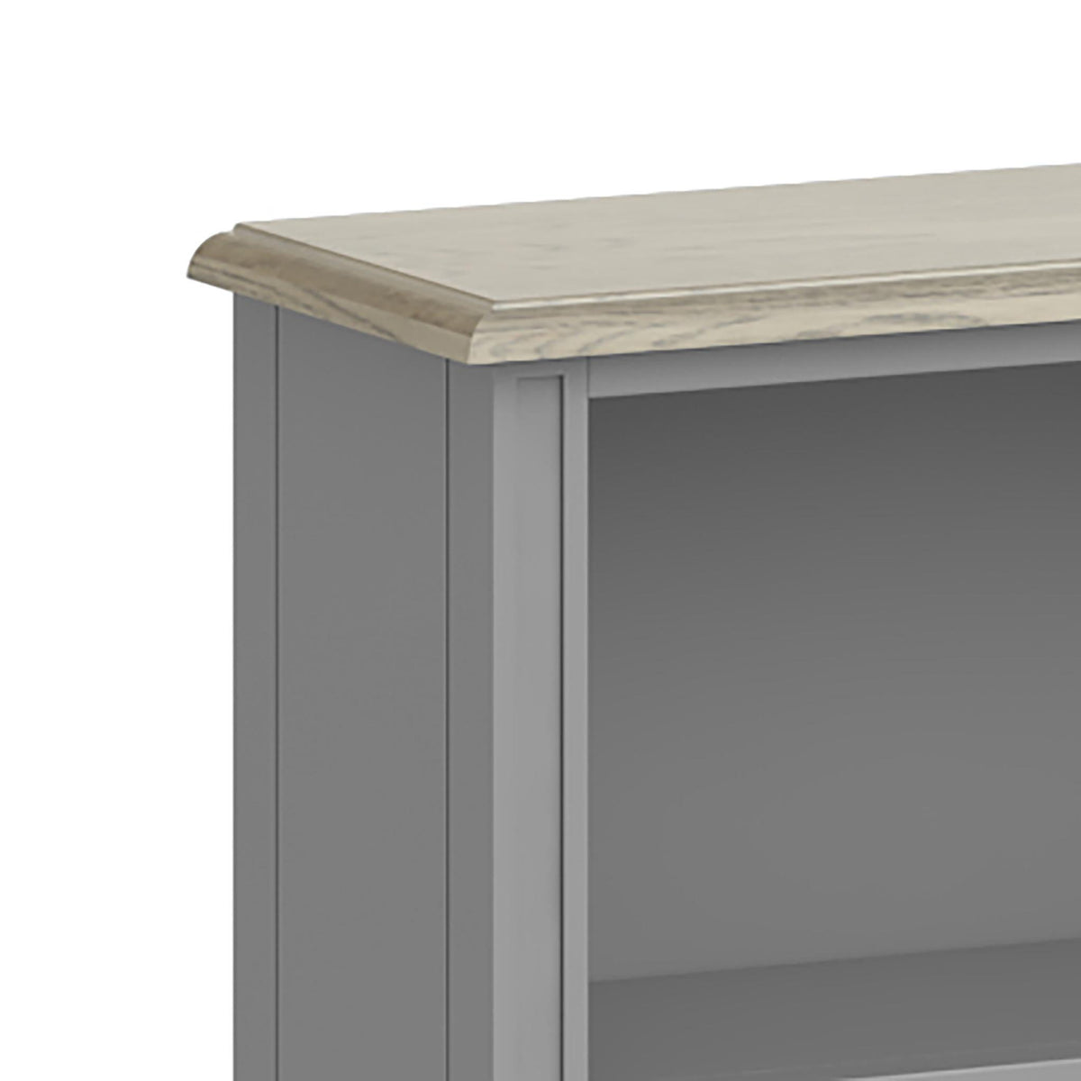 The Mulsanne Grey Small Low Bookcase - Close Up of  Top of Bookcase