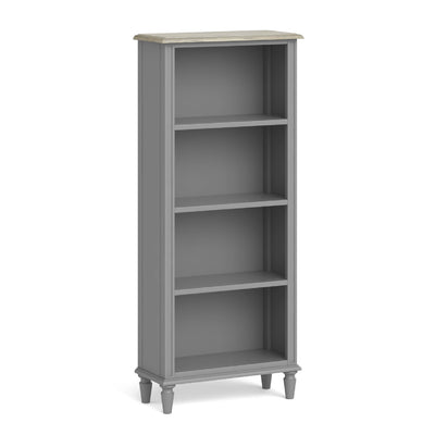 The Mulsanne Grey French Style Slim Bookcase by Roseland Furniture