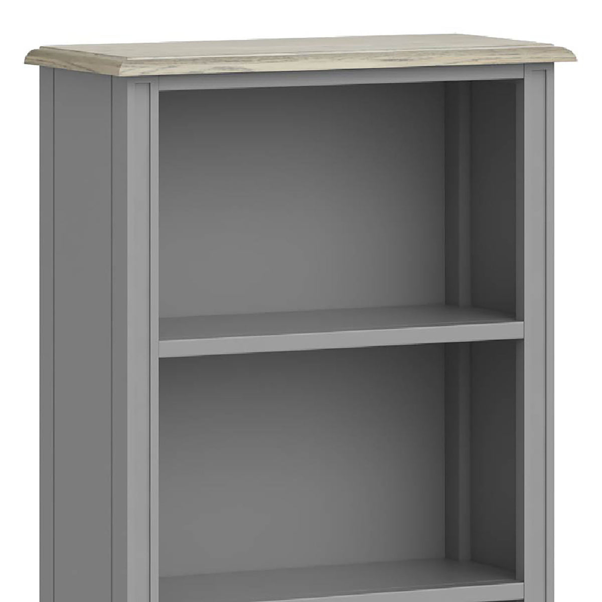 The Mulsanne Grey Slim Bookcase - Close Up of Top of Bookcase