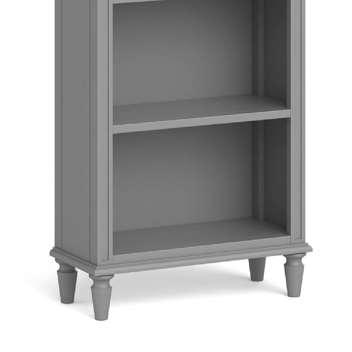 The Mulsanne Grey Slim Bookcase - Close Up of Base of Bookcase