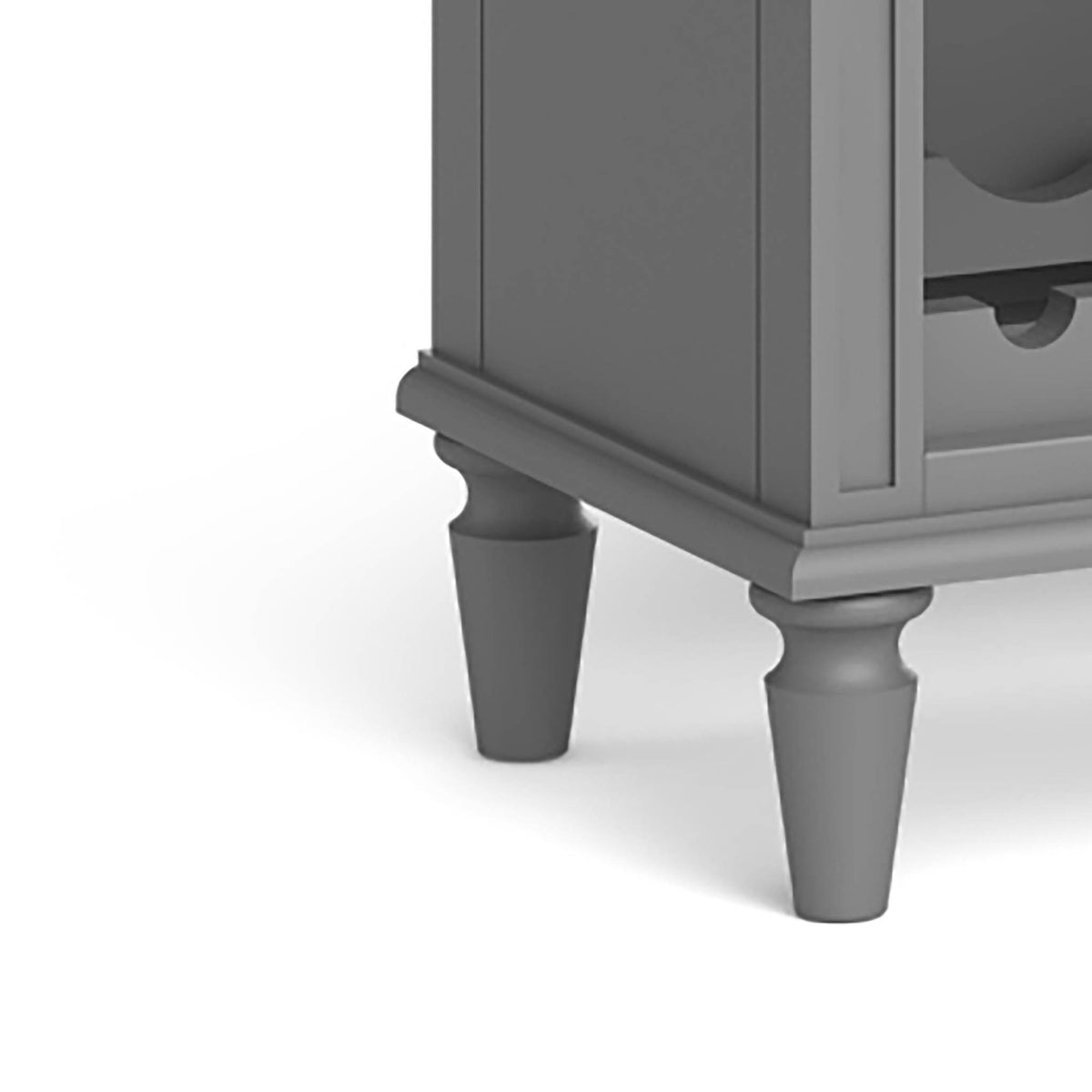 The Mulsanne Grey Wine Unit Cabinet - Close Up of Feet