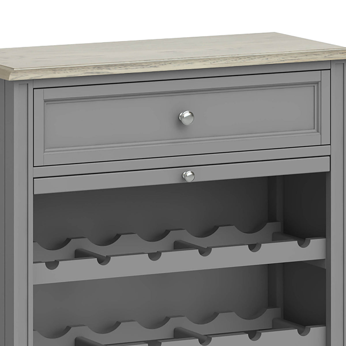 The Mulsanne Grey Wine Unit Cabinet - Close Up of Drawer and smaller Drawer