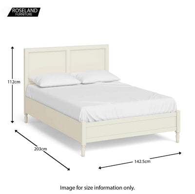 "Dimensions for The Muslanne Cream 4'6"" Double Bed Frame from Roseland Furniture"