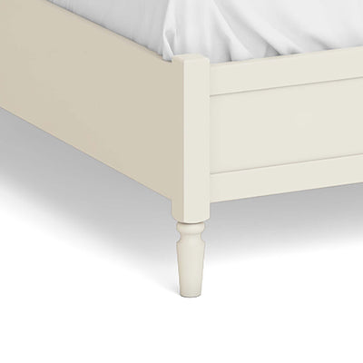 "The Muslanne Cream 4'6"" Double Bed Frame - Close Up of Feet of Bed"