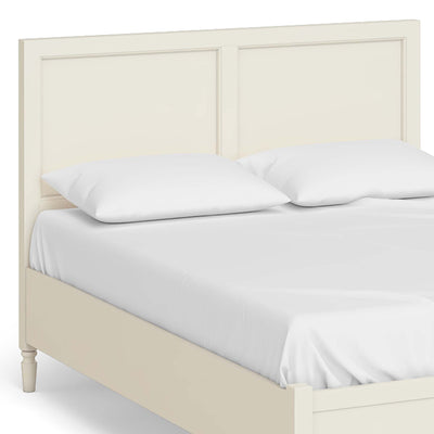 "The Muslanne Cream 4'6"" Double Bed Frame - Close Up of Bedhead"
