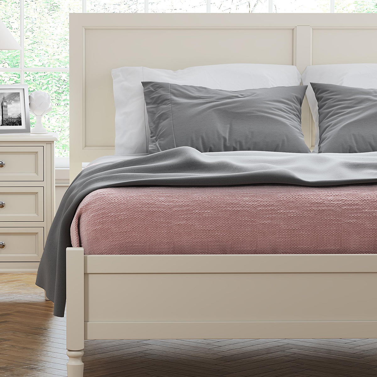 The Muslanne Cream 5' King Size Bed Frame - Close Up of Lifestyle