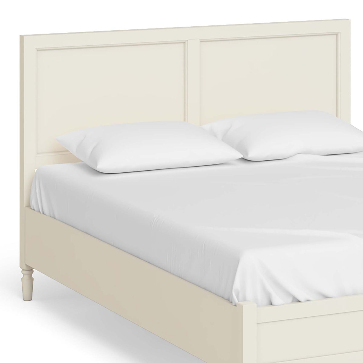 The Muslanne Cream 5' King Size Bed Frame - Close Up of Bed Head