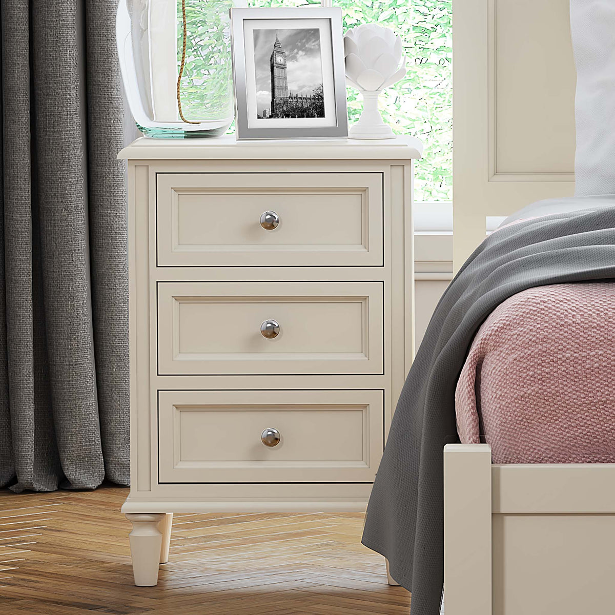 The Mulsanne Cream French Style Bedside Table with 3 Drawers - Close Up of Lifestyle