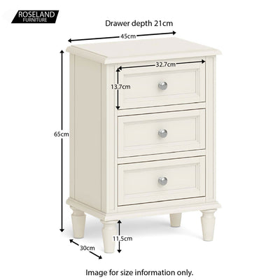 Mulsanne Cream Bedside Table - Size guide