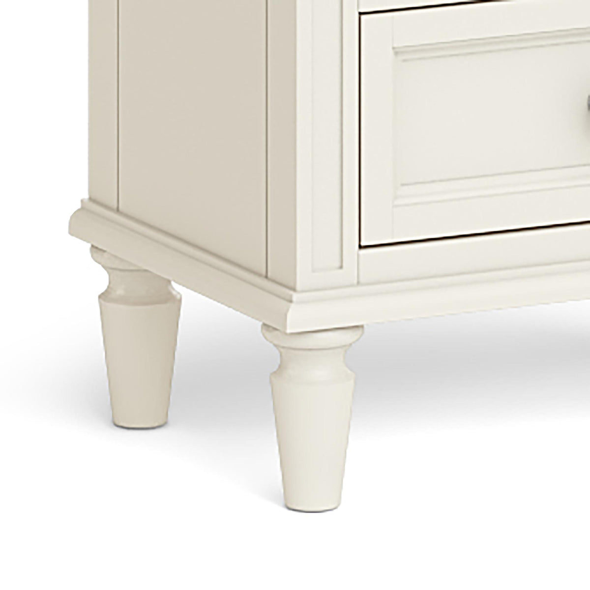 The Mulsanne Cream French Style Bedside Table with 3 Drawers - Close Up of Feet
