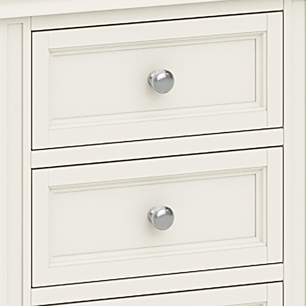 The Mulsanne Cream French Style Bedside Table with 3 Drawers - Close Up of Drawer