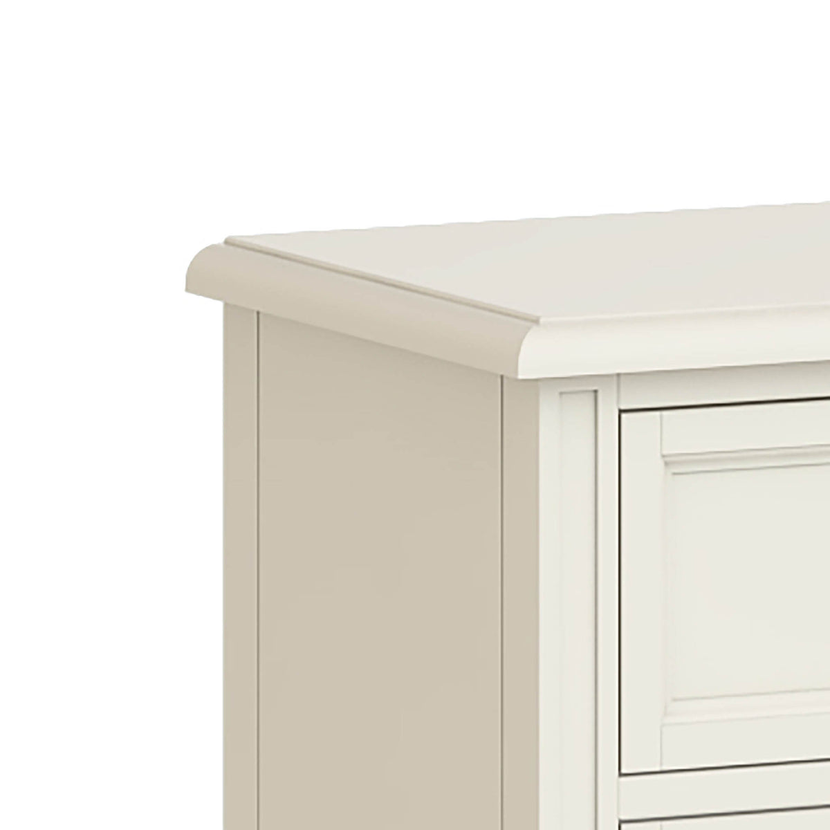 Mulsanne Cream 3 Over 4 Chest of Drawers - Close Up of Top Corner