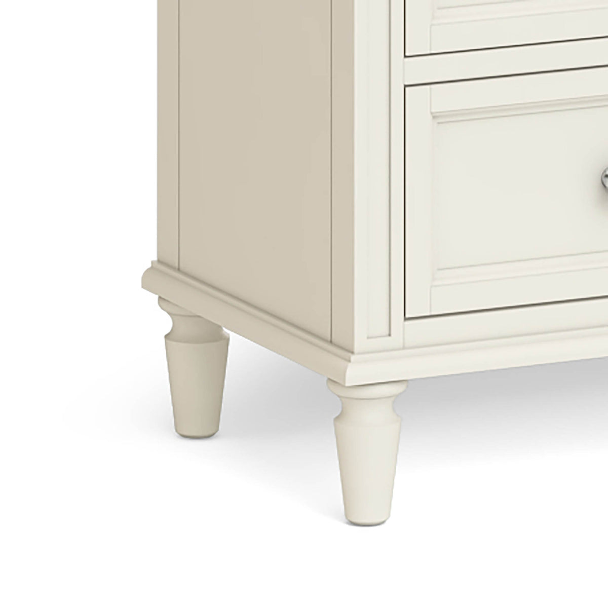 Mulsanne Cream 3 Over 4 Chest of Drawers - Close Up of Feet