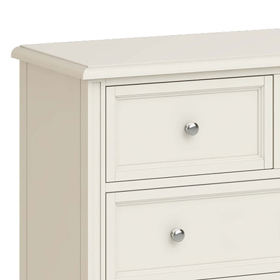 Mulsanne Cream 3 Over 4 Chest of Drawers - Close Up of Top Left Smaller Drawer