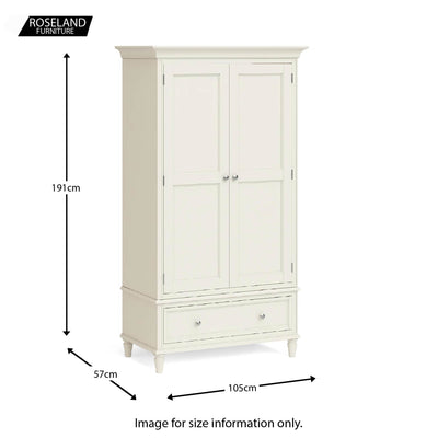Dimensions - Mulsanne Cream Double Wardrobe with Drawer
