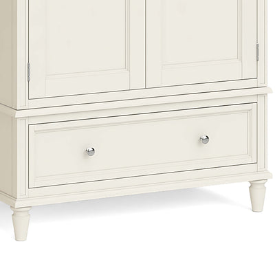 Mulsanne Cream Double Wardrobe with Drawer - Close Up of Lower Drawer