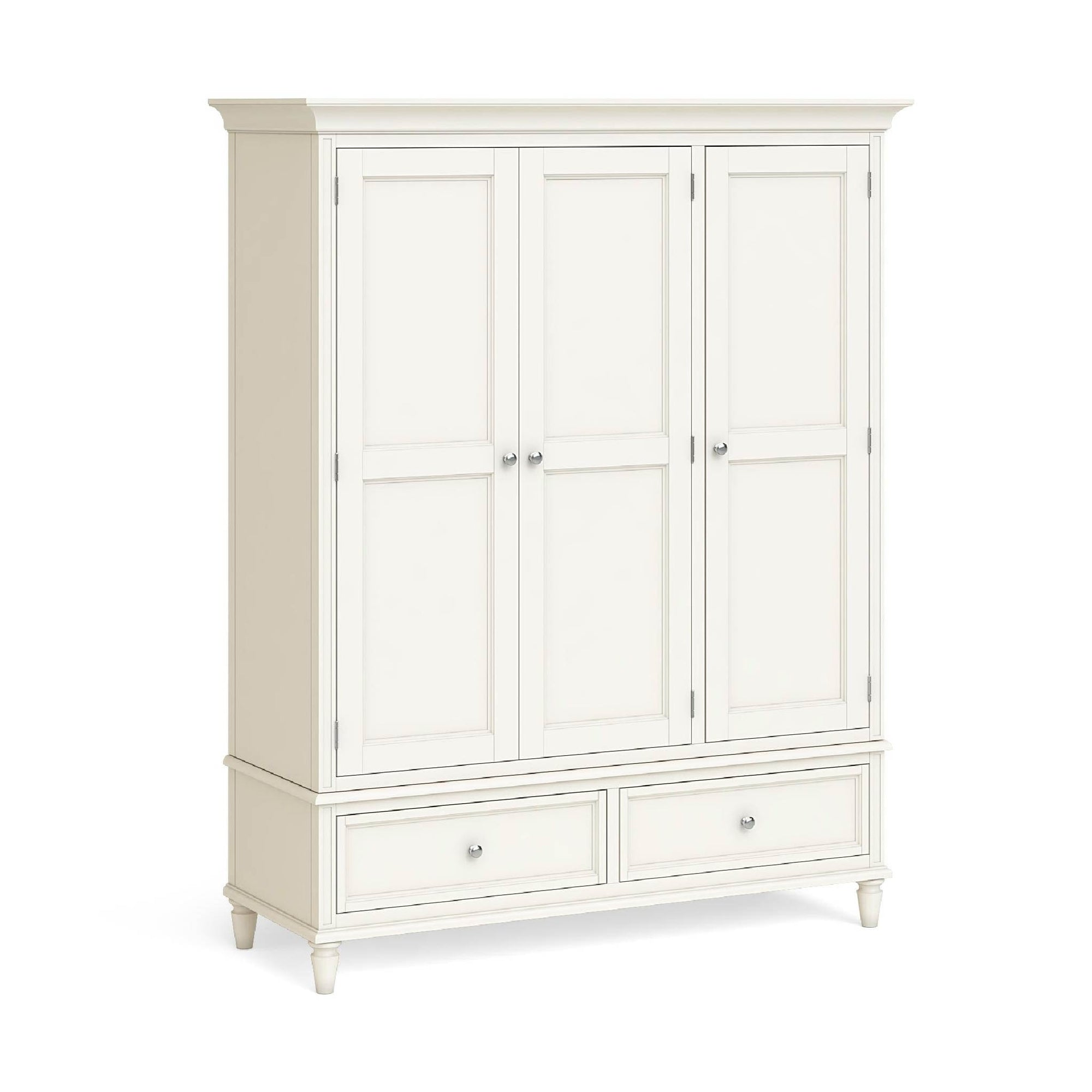 Mulsanne Cream Painted Triple Wardrobe with Drawers by Roseland Furniture