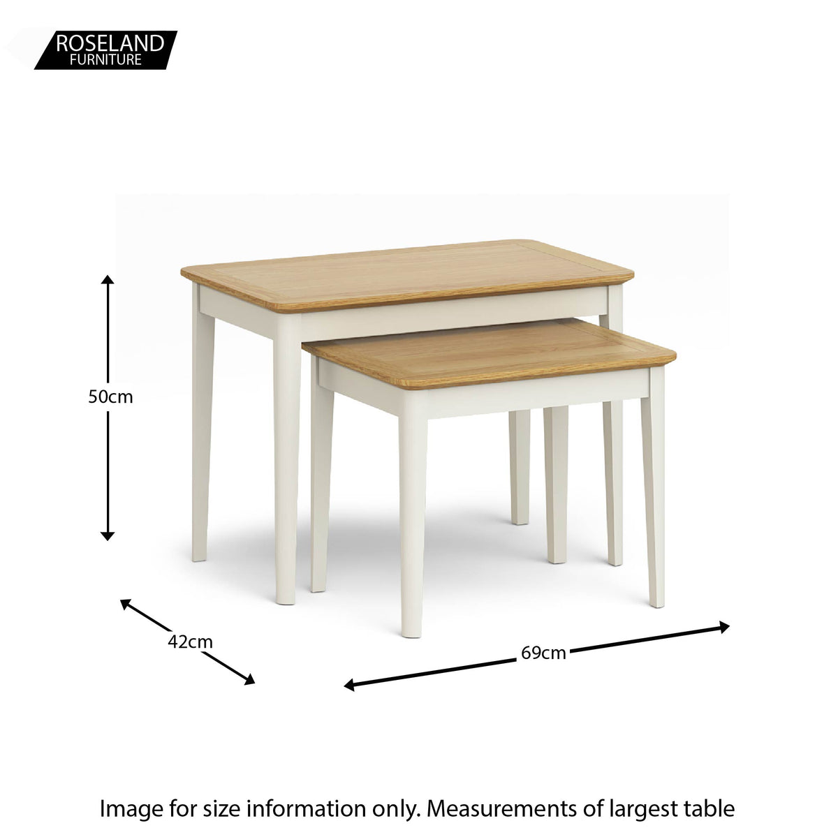 Windsor Cream Nest of Tables size guide