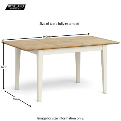 Windsor Cream Compact Extending Table - Size Guide of Table Fully Extended