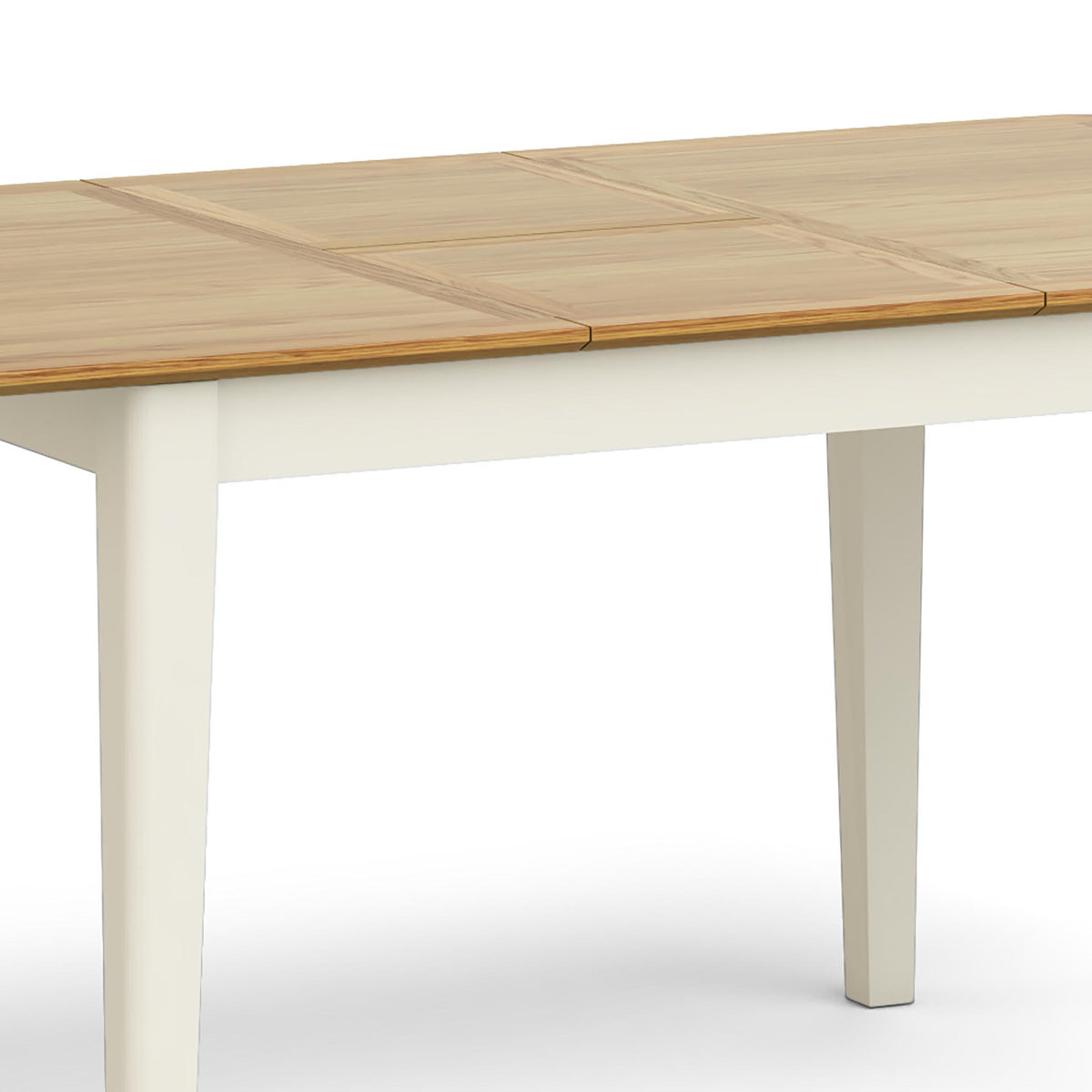 Windsor Cream Compact Extending Table - Close Up of Table Middle Extension  Section