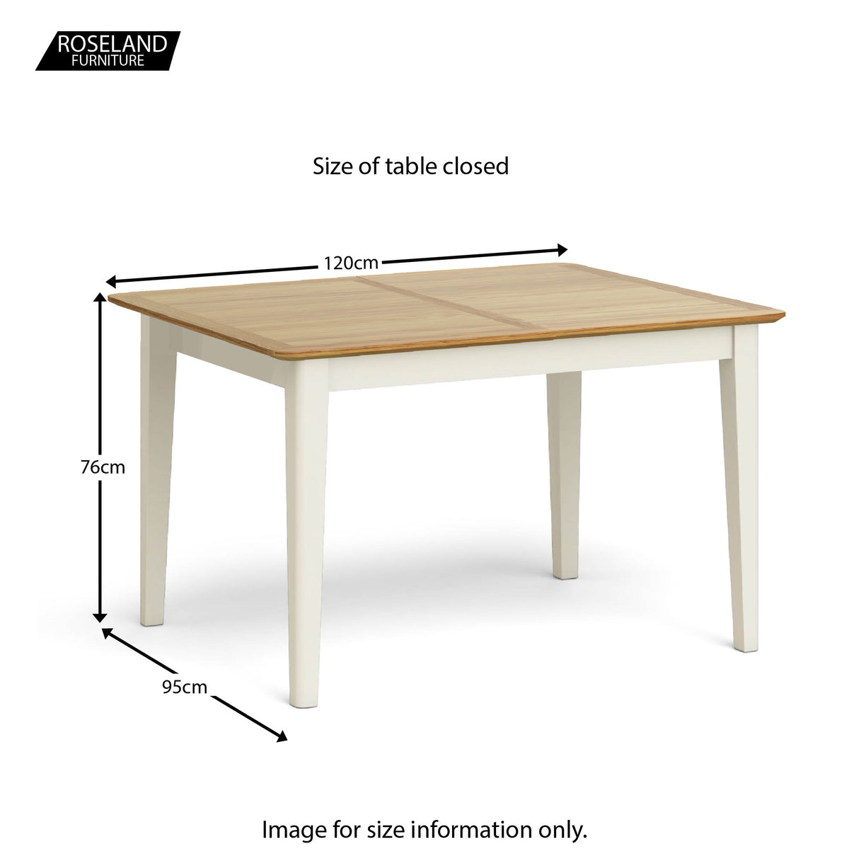 Windsor Cream Compact Extending Table - Size Guide of Table Closed