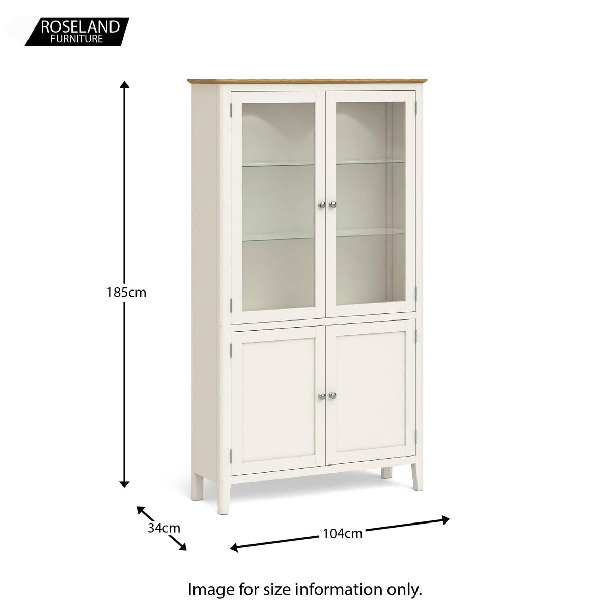 Windsor Cream Display Cabinet size guide