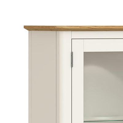 Windsor Cream Display Cabinet - Close Up of Oak Top of Cabinet