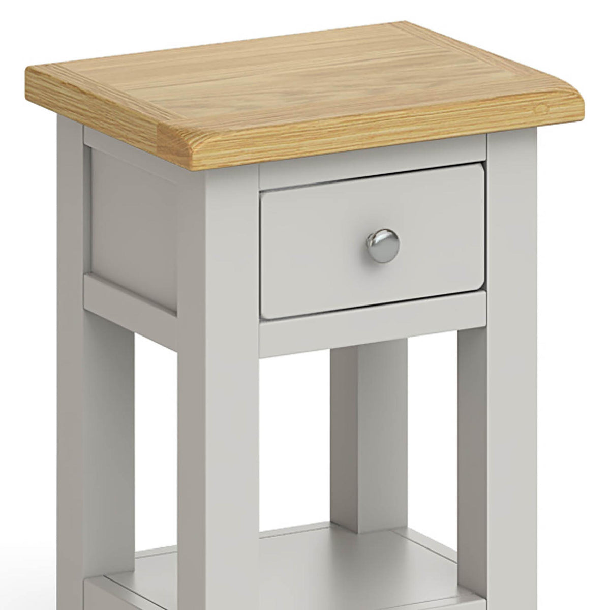 Lundy Grey Lamp Table - Close Up of Drawer and Top