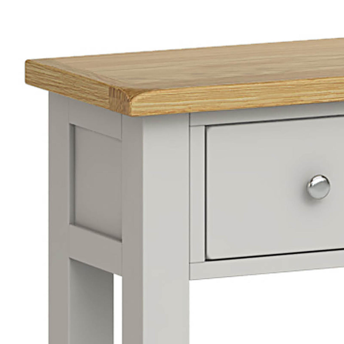 Lundy Grey Console Table - Close Up of Corner