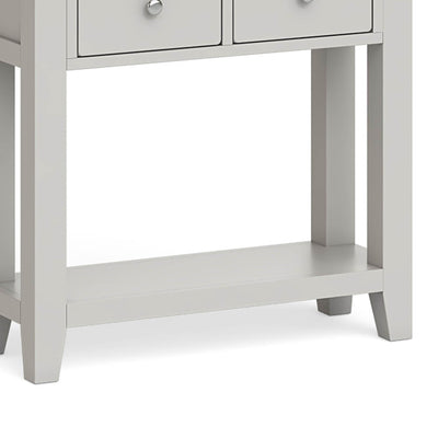 Lundy Grey Console Table - Close Up of Lower Shelf