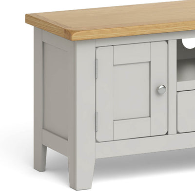 Lundy Grey Large TV Stand - Close Up of Cupboard