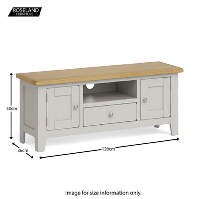 Dimensions - Lundy Grey Large TV Stand