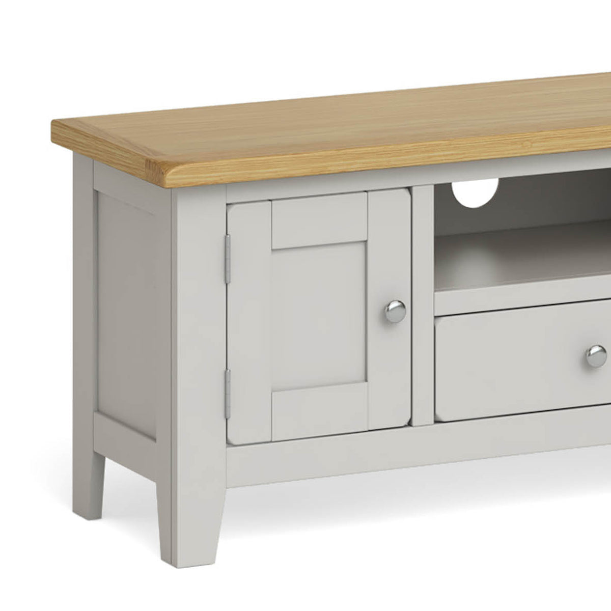 Lundy Grey Large TV Stand - Close Up of Oak Top