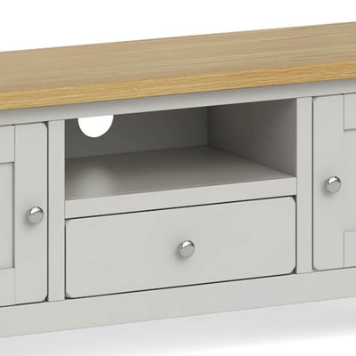 Lundy Grey Large TV Stand - Close Up of Drawer