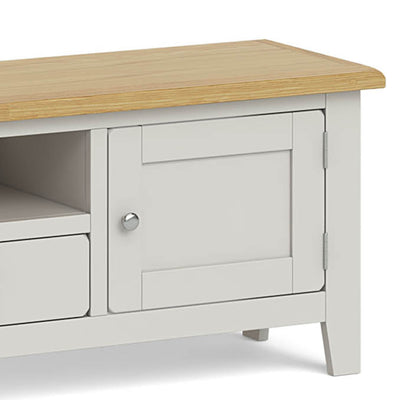 Lundy Grey Extra Large TV Stand - Close Up of Oak Top